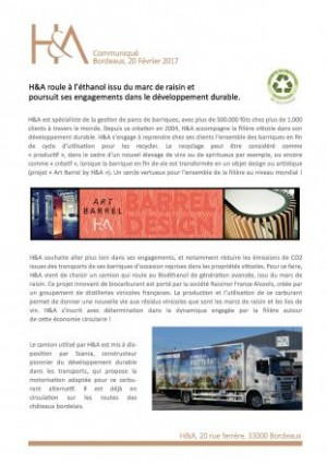 H&A runs on bioethanol - Press Release